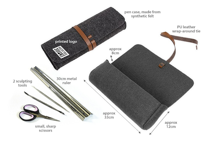 Please note that we are still testing materials and tweaking the design for the pen case