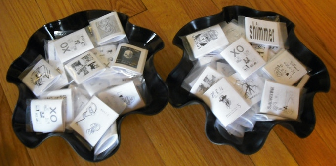 Our comics collected in recycled vinyl display bowls available to backers of $50.