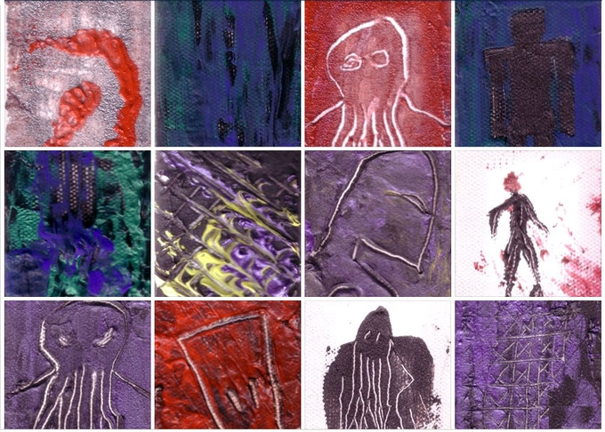Here's a few of my 2-inch by 3-inch paintings.  I'll be doing new ones for backers of $50 or more.  Partially abstract & partially sketch, I'd do more of these if there were more demand or canvas & heavy body paint with suspended metals were cheaper.