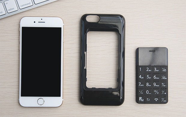 Patent protected case, you can put the Talkase phone or one credit card on with your iPhone!