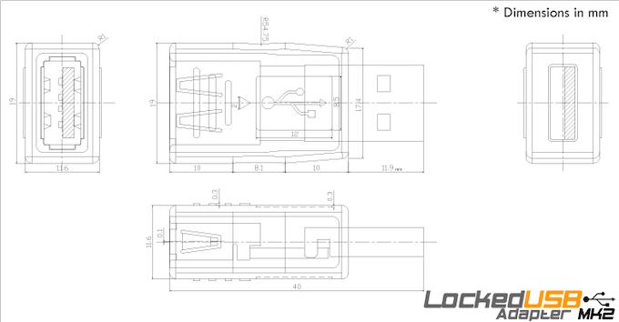 LockedUSB MK2 Dimensions