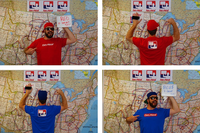 Fan-Hand Tees - Blue or Red:  $20