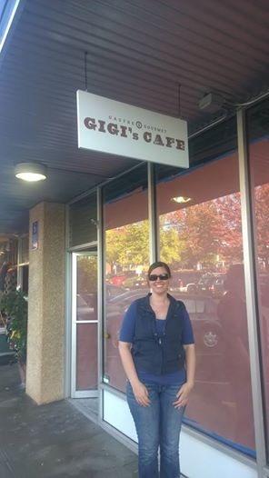 Charlene with GiGi's new sign!