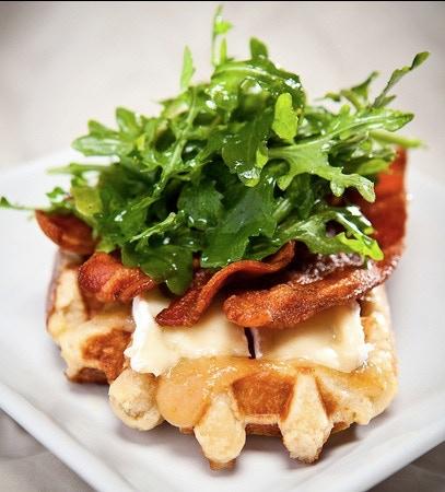 Arugula Bacon Camembert & Fig Waffle