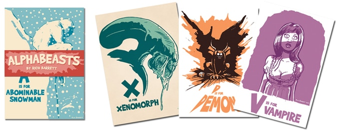 Alphabeasts! Pack of 27 Postcards by Rich Barrett.