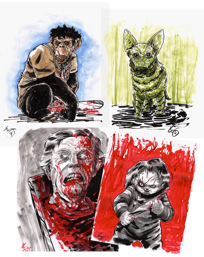Original Art by Kelly Williams! Either your choice of horror-themed animals, OR an #Inktober horror drawing!