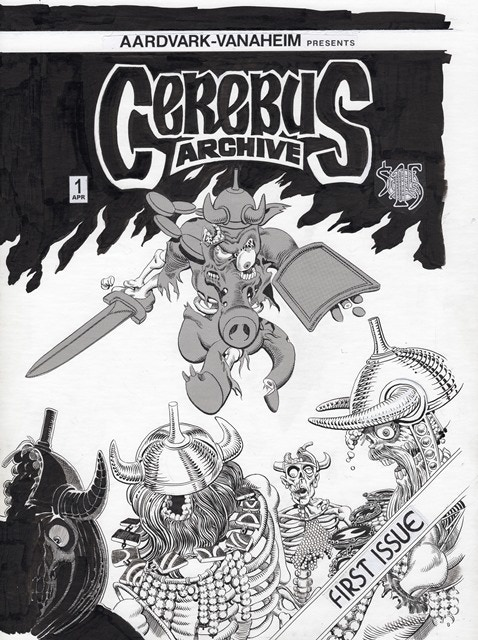 "BP #13 - 11"" x 17"" color reproduction of the alternate front cover of Cerebus Archive #1"