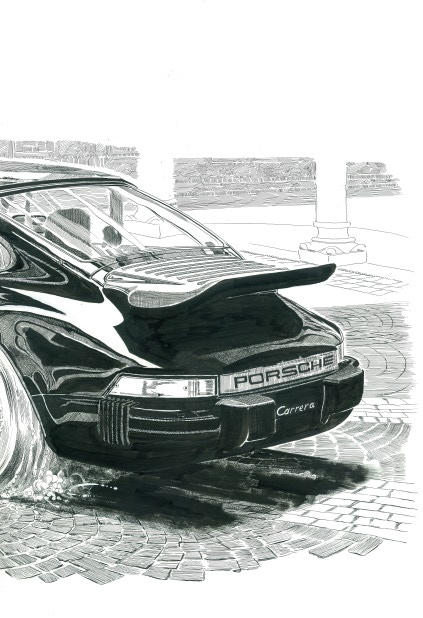 """BP #18 - 11"""" x 17"""" color print of Cerebus at the wheel. From Glamourpuss No. 5, (December 2008)"""