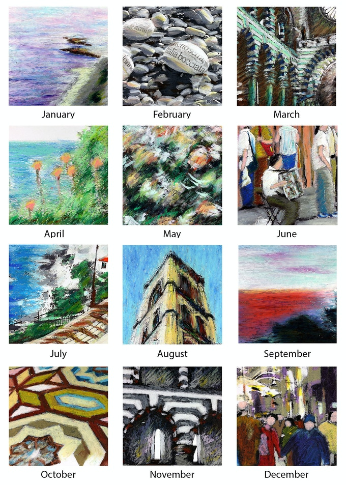 """Images from """"Lo Sguardo Italiano"""" used in the 12 months Calendar 2016"""
