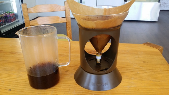Brewover can also sit comfortably on base when brewing is finished