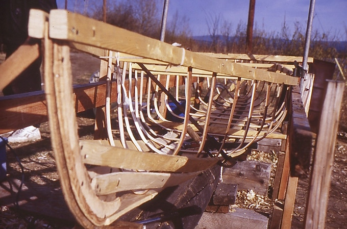 The building of the 18 ft long canoe, Athabascan-style