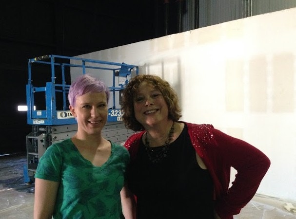 Patti and Lisa at Ground Floor Theatre as the space becomes a true black box