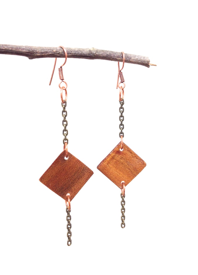 Deco Earrings in Cherry wood and copper