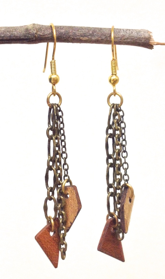 Tier Earrings on gold plated brass with antiqued brass chains.