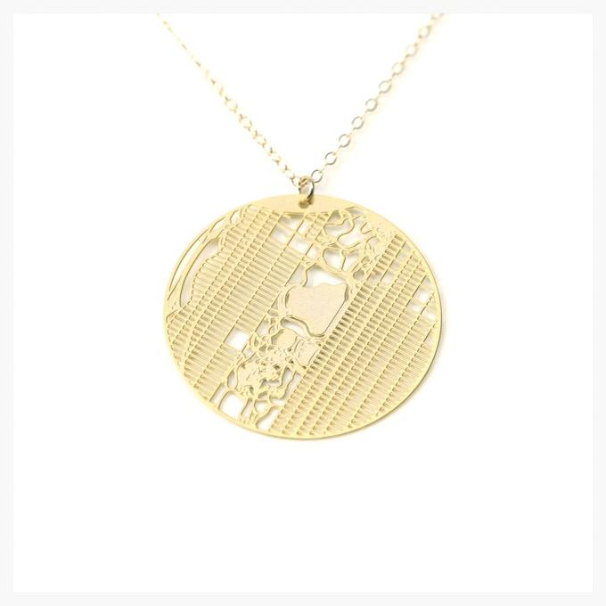 Gold New York Central Park pendant