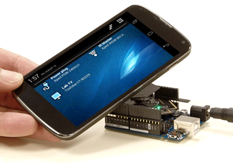 Phone taps ADRC Shield to establish a secure connection via NFC technology