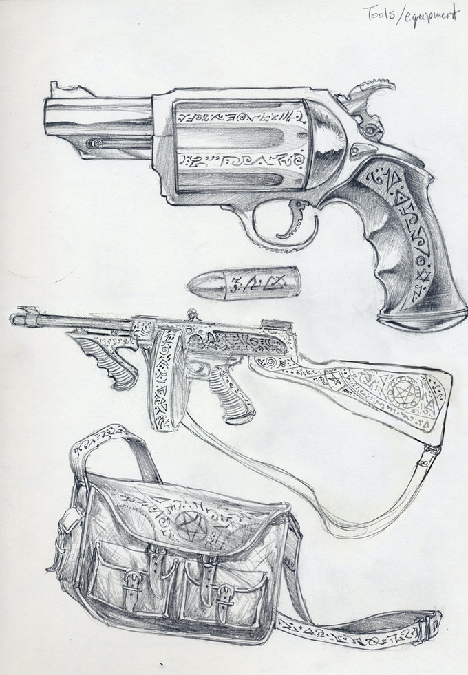 Concept Sketches For Lovecraft's Monster-Fighting Tools