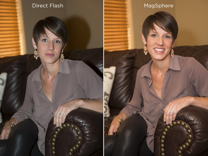 Bare flash, compared to flash with the MagSphere!