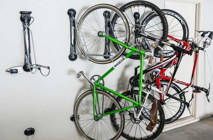 Safely store any bike and charge your accessories.