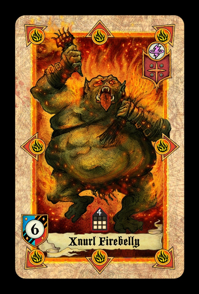 Orc Mage Command Card Xnurl Firebelly, now in colour. He's disgustingly beautiful!!!
