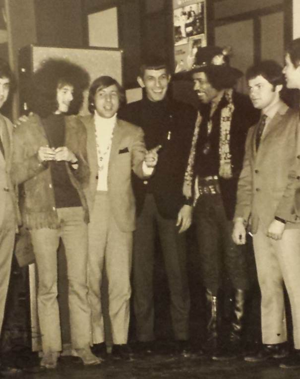 Noel Redding, left, Leonard Nimoy, center, deejay Chuck Dunaway and Jimi Hendrix, second from right, in Ohio.