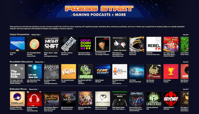 1 of 15 Enthusiastic Shows picked by iTunes in the Press Start Feature