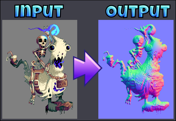 """Left: """"Ghost Pizza"""", ©2010-2014 AlbertoV (DYA Games) - Right: Surface normals generated by Sprite DLight"""