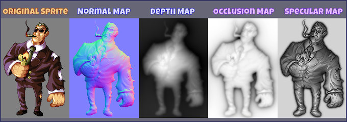 """""""Bodyguard"""", ©2010-2014 AlbertoV (DYA Games), normal, depth, ambient occlusion and specularity maps generated by Sprite DLight"""
