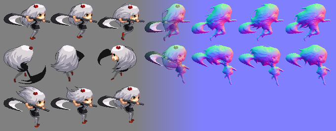 """Sprite sheet """"Leina Jump Animation"""" from Renegade Death, © 2015 developed by Enthrean Guardian and Hinocyber, blending into the normal map generated by Sprite DLight"""