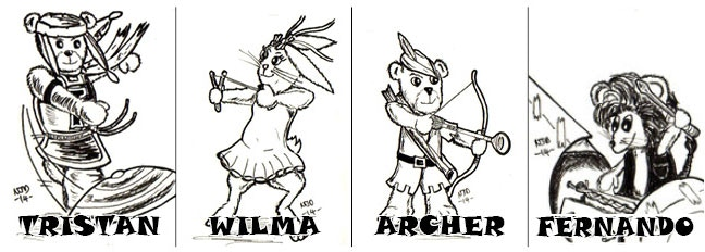From left. Tristan, Wilma, Archer & Fernando by Character Concepts by Nick Davis