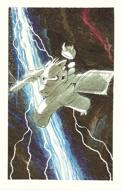 "BP #19 - 11"" x 17"" color print of Cerebus Lightning Commission"