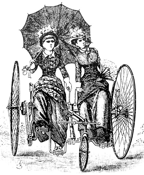Illustration of tandem tricycle, ca. 1886