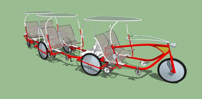 Safari Trike Tram - Each trailer unit can carry two three adults, or four children