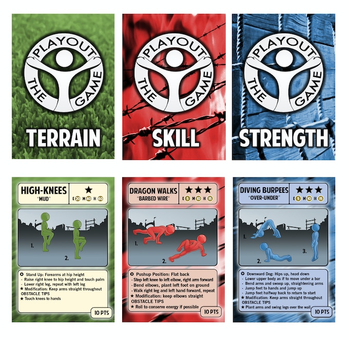 10 Terrain Cards, 10 Skill Obstacles, 10 Strength Obstacles