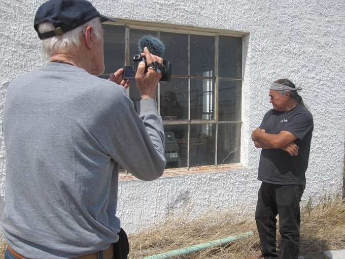 Filming Willard Carlson at the historic jail in present-day Nebraska where the legendary Lakota warrior Crazy Horse was held in 1876 before he was killed.