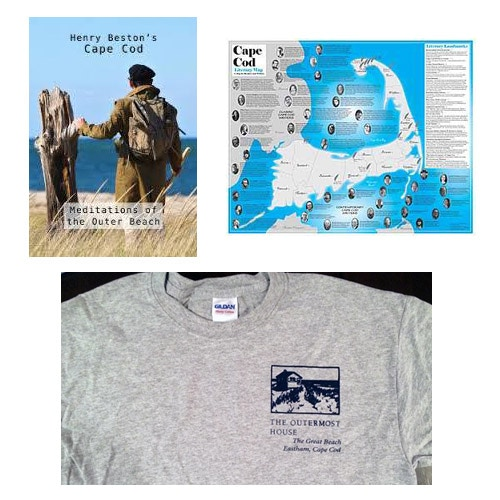 "From our ""Rewards"" collection, clockwise from top left: the ""Henry Beston's Cape Cod: Meditations of the Outer Beach"" DVD of pre-production footage; the Literary Map of Cape Cod; the Outermost House T-shirt."