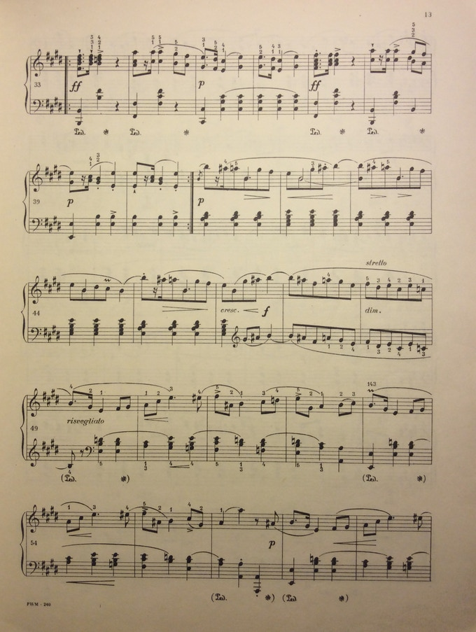 A page from a large format music score scanned using the stand and iPad Air