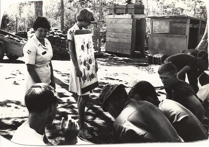 Mary Blanchard Bowe and fellow Donut Dollie Programming at Camp Enari