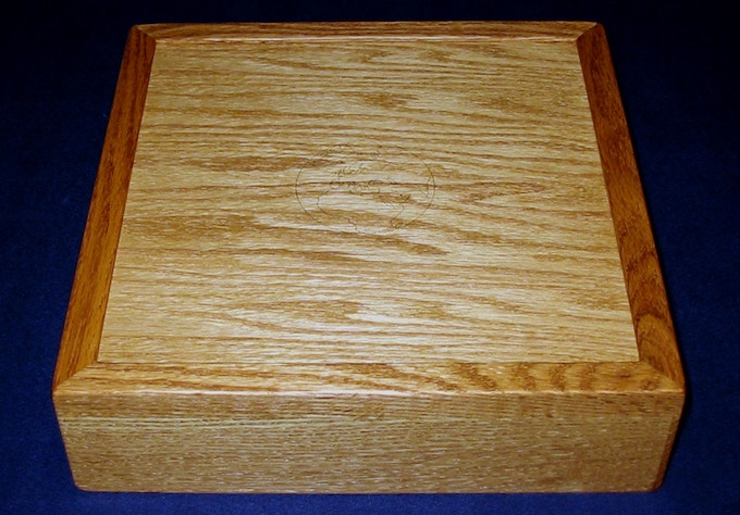 Oak Storage Box sample (with engraved Earth and Golden Oak stain)