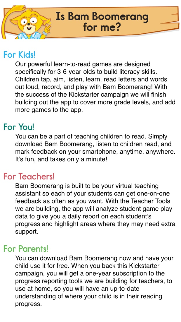 Bam Boomerang: Help Kids Learn to Read by Keenan Wyrobek