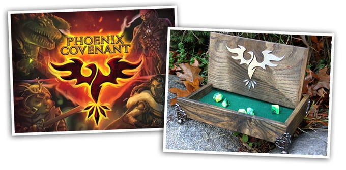 Custom Phoenix Covenant symbol from source to Dice Chest. See our FAQs for details on how to get this box. Click on this pic to check out the game.