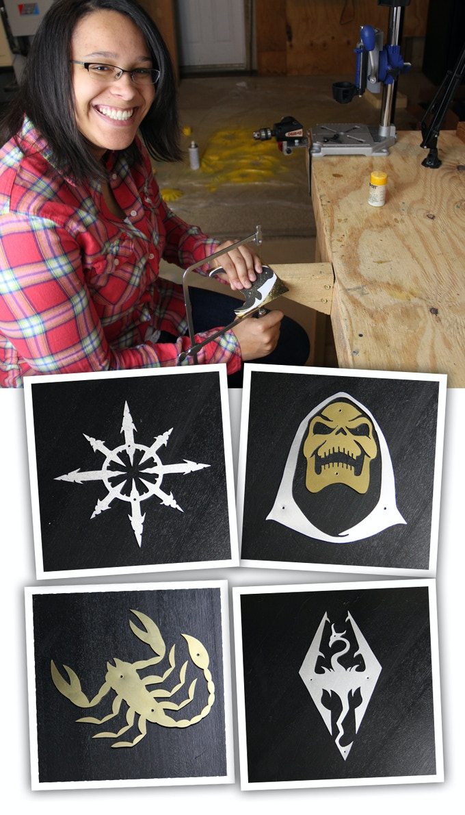 Lisa hand cutting awesome backer submitted symbols!