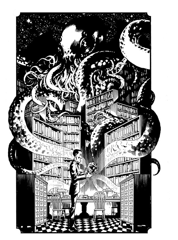 1 of 6 original Lovecraft pin ups that will be featured in the book (this one is by Brian Hurtt)