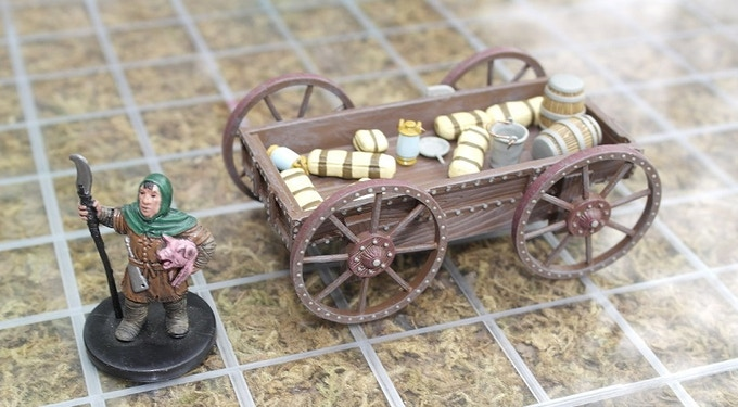 Wagon without the top, full of it's parts.