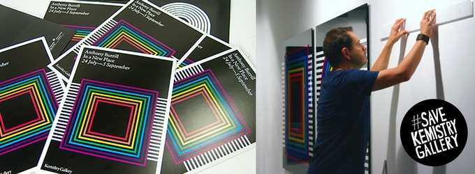 Celebrated designer and print maker Anthony Burrill hanging his show for us in 2009.