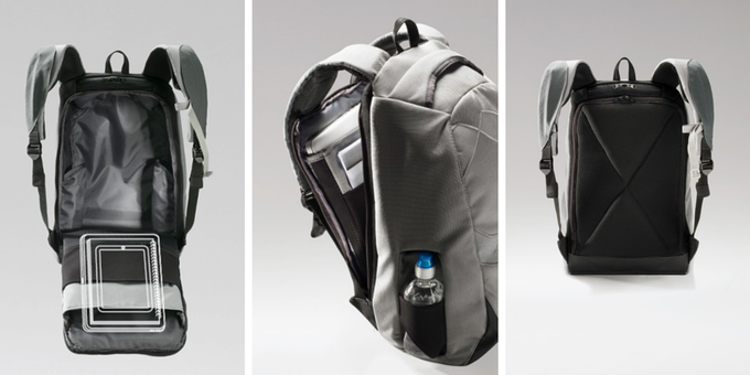 RiutBag laptop holder. Full laptop holder panel open, part open and closed
