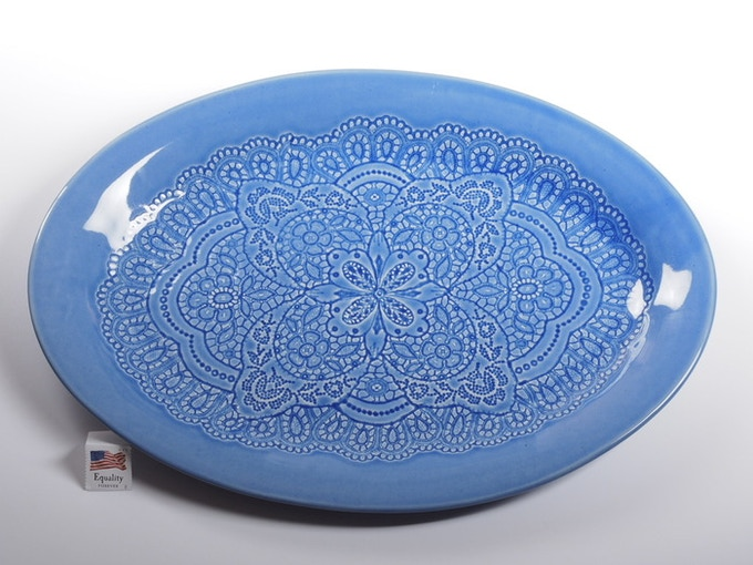 "Reward #20 - Oval Lace Platter 14"" x 10"" (above) - $123 + Shipping"