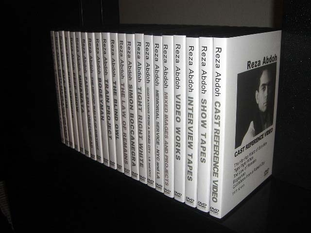 """""""Reza Abdoh DVD Collection""""—This remarkable DVD collection, consisting of 29 DVDs of production, rehearsal, and other video material will be offered to the first 10 donors contributing $1,000 or more."""