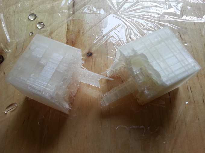 Two months later, no observable structural differences were observed between the two halves of corn-based plastic. The submerged and Sun-exposed half is on the left.