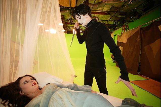 Doug Jones on the set of Dr. Caligari.